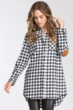 This Ginny Flannel Tunic Shirt is the single, effortless garment you can throw on for an all day chic and casual Long sleeve A chest pocket Suede elbow patch Bu Flannel Tunic, Tunic Shirt, White Plaid, Gingham, Altering Clothes, Elbow Patches, Autumn Fashion, Clothes For Women, Fall Things