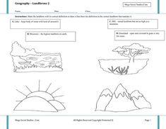Free kindergarten geography worksheets. Landforms and ...