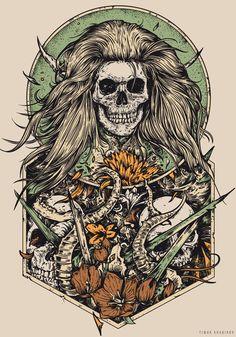 Relics by timur khabirov, via Behance #illustration #drawing #skull #hair