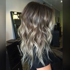 Ash Blonde Balayage Ombre Hairstyles - Medium, Long Wavy Haircut