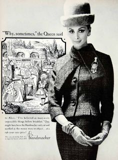 1962 Ad Vintage Handmacher Tweed Wool Suit Woman Gloves Hat 60s Fashion YMMA1