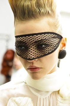 "lelaid: "" Sasha Pivovarova backstage at Jean Paul Gaultier F/W 2009 "" Next Fashion, Fashion Face Mask, Diy Fashion, Sasha Pivovarova, Masquerade Mask Makeup, Skin Trade, Classy And Fabulous, Fishnet, Looking For Women"