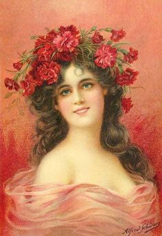 Oldfashioned Lady in that of Carnations vintage art by Emile Vernon