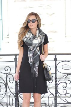 For All Things Lovely: A Casual #LBD + Blanket Scarf