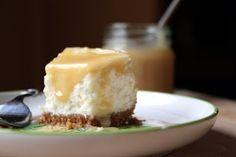 Greek yogurt cheesecake with honey caramel drizzle