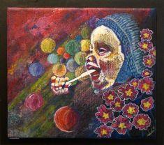 Smalka, känn, lukta på livetsgoda tavlan är 32,5 x 36, 5 cm stor, målad i blandteknik och kostar 1400 kr