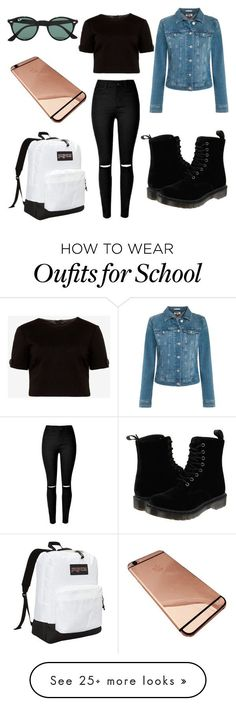 """High School"" by fashion98711 on Polyvore featuring Dr. Martens, Tommy Hilfiger, Ted Baker, JanSport and Ray-Ban"