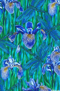 Tales of a Riverbank - Iris & Dragonfly - Jade