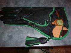 "Falconry Glove 15""Custom Tooled Hooded Falcon Goat Skin Black Triple Layered…"