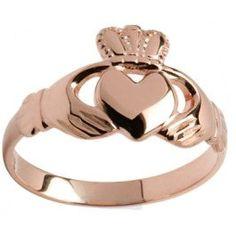 Solid Ladies 10K/14K/18K Rose Gold Irish Claddagh Ring - Custom Engraved