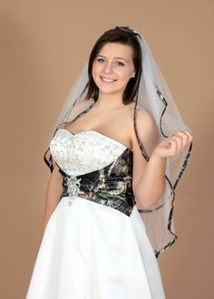 Our 2 layer veil, can do white or ivory.any camo trim! Also comes in a 1 layer! Camouflage Wedding Dresses, Thing 1, Veil, Ivory, Peplum, Toile, Veils