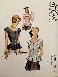 1940's Vintage Summer Peplum Blouses Misses' McCall Sewing Pattern 7191 FF | eBay