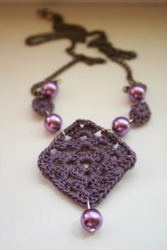 crocheted square necklace