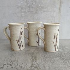 3 x Retro Australian Pottery Small Coffee Mugs Unknown potter - see photo 5 of potters mark, MP made in Australia.