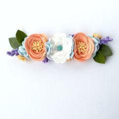 Spring felt flower crown - peach and mint - flower crown - Tropical Mango