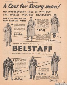 A coat for every man! #Vintage #Belstaff Ad from 1953
