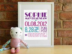 Girls Personalised Baby Birth Details Keepsake print by SmartCreative, £14.00