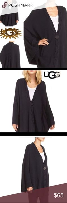 """New UGG Angeline Black Knit Cape/Sweater XS/S $128 NWT SINGLE LOGO BUTTON-RIB TRIM— FRONT HAND POCKETS  100 % COTTON  MACHINE WASH  LENGTH FROM SHOULDER 32"""" UGG Jackets & Coats Capes"""
