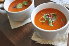 We love tomato soup. When I found the recipe for Nordstrom's famous Tomato Basil Soup it became an instant favorite in our house. Easy and delicious. Diet Soup Recipes, Tomato Soup Recipes, Tea Recipes, Healthy Recipes, Healthy Food, Dinner Recipes, Healthy Eating, Red Pepper Soup, Stuffed Pepper Soup