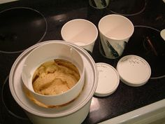 My pumpkin... er, butternut squash, actually... ice cream ready to go in containers.