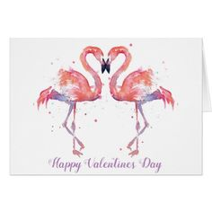 Minimalist Watercolour Flamingos Valentines Card - valentines day gifts love couple diy personalize for her for him girlfriend boyfriend