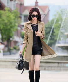 Lace Hem Trench Coat