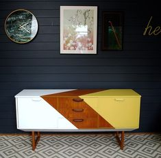 A lovely vintage teak sideboard painted in white and yellow and lined inside. Painted Sideboard, Teak Sideboard, Painted Furniture, Refinished Furniture, Mid Century Sideboard, Better Day, Mid Century House, Diy Hacks, Accent Colors