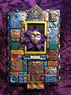 """Mosaic Mixed Media Wall Decor Wall Hanging Altar Shrine Icon """"Lovely"""" Goddess Art. $42.00, via Etsy."""