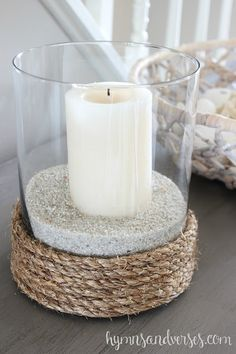 Updated Dresser for the Entryway 2019 Rope wrapped glass vase sand candle = coastal candle holder The post Updated Dresser for the Entryway 2019 appeared first on Entryway Diy. Sand Candles, Home Decor Vases, Vase Crafts, Coastal Bedrooms, Beach Crafts, Glass Candle Holders, Summer Diy, Do It Yourself Home, Coastal Decor