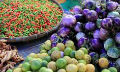 A selection of local produce at the Phosi market.