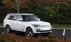 Lexani Wheels, the leader in custom luxury wheels.  2013 white Rover with 26 machine and black Lust wheels.