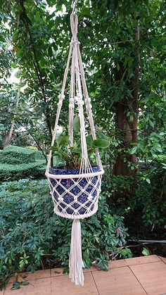 4 Legs Macrame Cotton Plant Holders with Bamboo Ring Inside with White Wood Bead Decoration .White Color, 36-inches Length (Without the Pot and Plant)