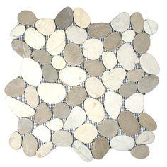 Sliced Java Tan and White Pebble Tile Sample- the flat river rock tiles I like are called sliced. I like this for my shower floor Stone Mosaic Tile, Mosaic Tiles, Pebble Tile Shower Floor, Pebble Tiles, Pebble Stone, Tile Floor, Master Shower, Master Bathroom, Hall Bathroom