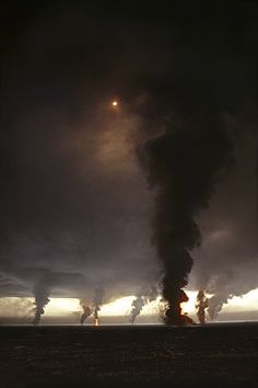 Burning daylight—thought these were tornadoes, I think those are the burning oil wells in Kuwait during the Gulf War. Iraq set fire to more than 600 of them as they retreated from Kuwait during the Gulf War in 1991