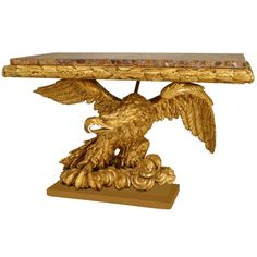 Spectacular French Empire Gilt Carved Eagle Console Late 18th / Early 19th C. | From a unique collection of antique and modern console tables at https://www.1stdibs.com/furniture/tables/console-tables/