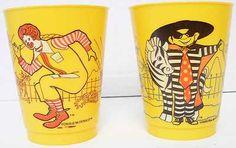 2 Vintage McDonald's Character Plastic Cups from 1978 Ronald+Hamburgler