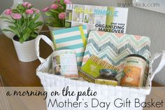 "Mother's Day Gift Basket: Morning on the Patio..can change items but like the concept...""morning on the patio"" basket."