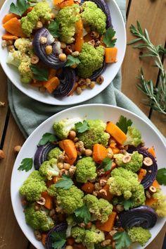 Rosemary Roasted Cauliflower Salad with Butternut Squash, Hazelnut, & Mulberries
