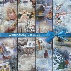 Winter Story - Digital Collage Sheet - Digital