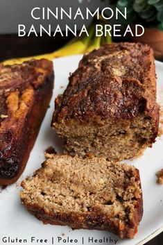 Cinnamon Banana Bread that is paleo gluten free and healthy. An easy healthy meal prep breakfast option. A healthy dessert option as well. Made with bananas eggs coconut flour and lots of cinnamon for that delicious banana bread taste. Cinnamon Banana Bread, Flours Banana Bread, Gluten Free Banana Bread, Vegan Banana Bread, Easy Banana Bread, Banana Bread Recipes, Pumpkin Bread, Healthy Banana Recipes, Cheese Pumpkin