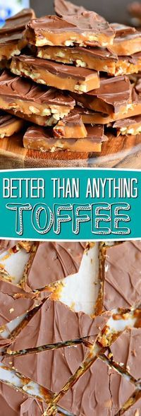 The best toffee recipe EVER! Sweet milk chocolate, crunchy pecans, and rich, buttery toffee - what's not to love? This Better Than Anything Toffee is easy to make and makes the perfect treat OR gift year-round! // Mom On Timeout candy Candy Recipes, Sweet Recipes, Cookie Recipes, Dessert Recipes, Nut Recipes, Just Desserts, Delicious Desserts, Yummy Food, The Best Toffee Recipe