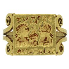 Museum Quality Antique Early Byzantine Century AD Gold Marriage Ring For Sale at Vintage Rose Gold, Vintage Roses, Ancient Jewelry, Antique Jewelry, Wooden Jewelry, Silver Jewelry, Byzantine Gold, Steampunk Rings, Steam Punk Jewelry