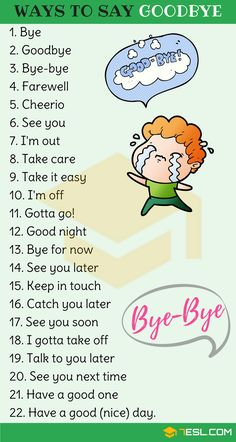 23 Ways to Say Goodbye in English How to Say Goodbye in English! List of other ways to say goodbye in English with example sentences and ESL pictures. Learn these goodbye synonyms to improv English Learning Spoken, Teaching English Grammar, English Writing Skills, English Language Learning, English Lessons, English English, English Study, French Lessons, Spanish Lessons
