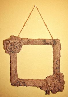 Burlap Roses Square Wreath Frame Coffee Bag by aSouthernBelles