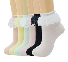 62ceeee00ffd SRYL Women Girls Lace Ruffle Frilly Ankle Socks Fashion Ladies Girl  Princess, (6 pairs-Y5)