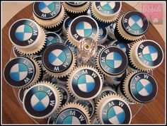 BMW cupcakes by Bibbidi Cake Co Motorcycle Birthday Cakes, Bmw Cake, Bmw E60, Cake & Co, 50th Birthday Party, Boyfriend Birthday, Child Care, Baby Shower Cakes, How To Make Cake