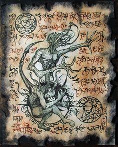 700 livres en euros | Cthulhu Necronomicon DEMON exorcisme sorcellerie de page horreur ...