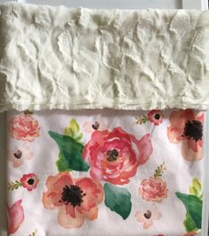Watercolor Floral Baby Blanket-Pink and Coral
