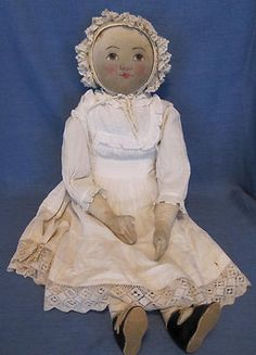 "30"" babyland Rag Doll Vintage Clothing Painted Face Excellent Condition 