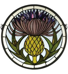 Meyda Tiffany's Thistle window is an original designutilizing art nouveau stylings. Handcrafted utilizingthe copperfoil construction process and 175 pieces ofstained art glass encased in a solid brass